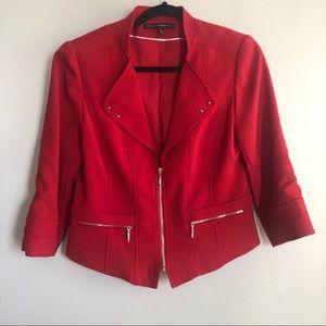WHBM Red Zip Up Blazer Size 8